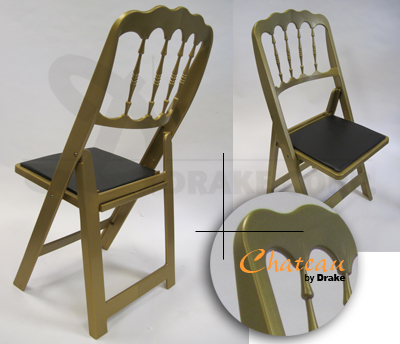 Chateau high back folding chair / gold color