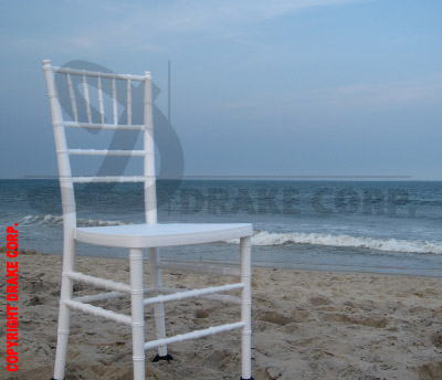 White Chiavari on the beach