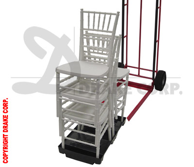 White Chiavari chair stack, pallet and chair truck