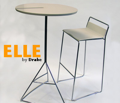 ELLE, white stool & Tre3 bar table