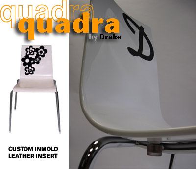 Quadra Stacking Chairs Detail With Custom Leather Insert in the Shell