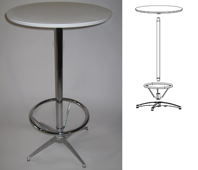 Bar table with optional footrest