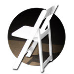 CHIP resin folding and stacking chairs (AKA White Wedding Folding Chairs)