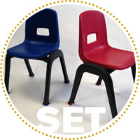 D130 Set of 2 Stackable School Chairs, 12in.