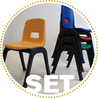 D130 Set of 4 Stackable School Chairs, 12in.