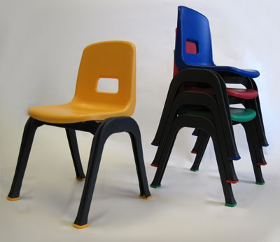 "D130 Set of 4 Stackable School Chairs, 12"" High Seat, Red, Blue, Yellow, Green, Heavy Duty"