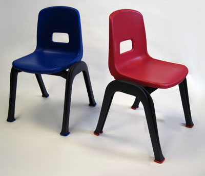 D130 set of 2 kid chairs, one red seat and one blue seat.