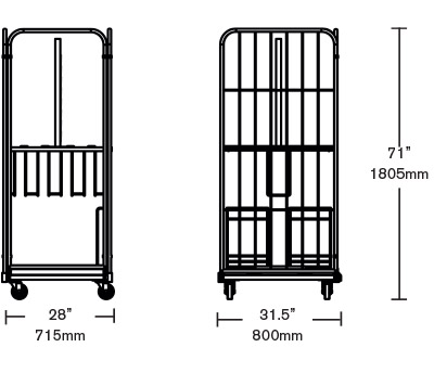 Table cart dimensions
